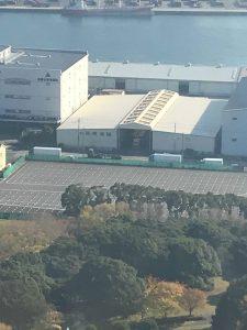 高さ126mのポートタワーから当社倉庫も見えました。