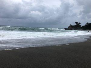 龍馬像の眼前には桂浜。太平洋の荒波が押し寄せます。ここは遊泳禁止区域。